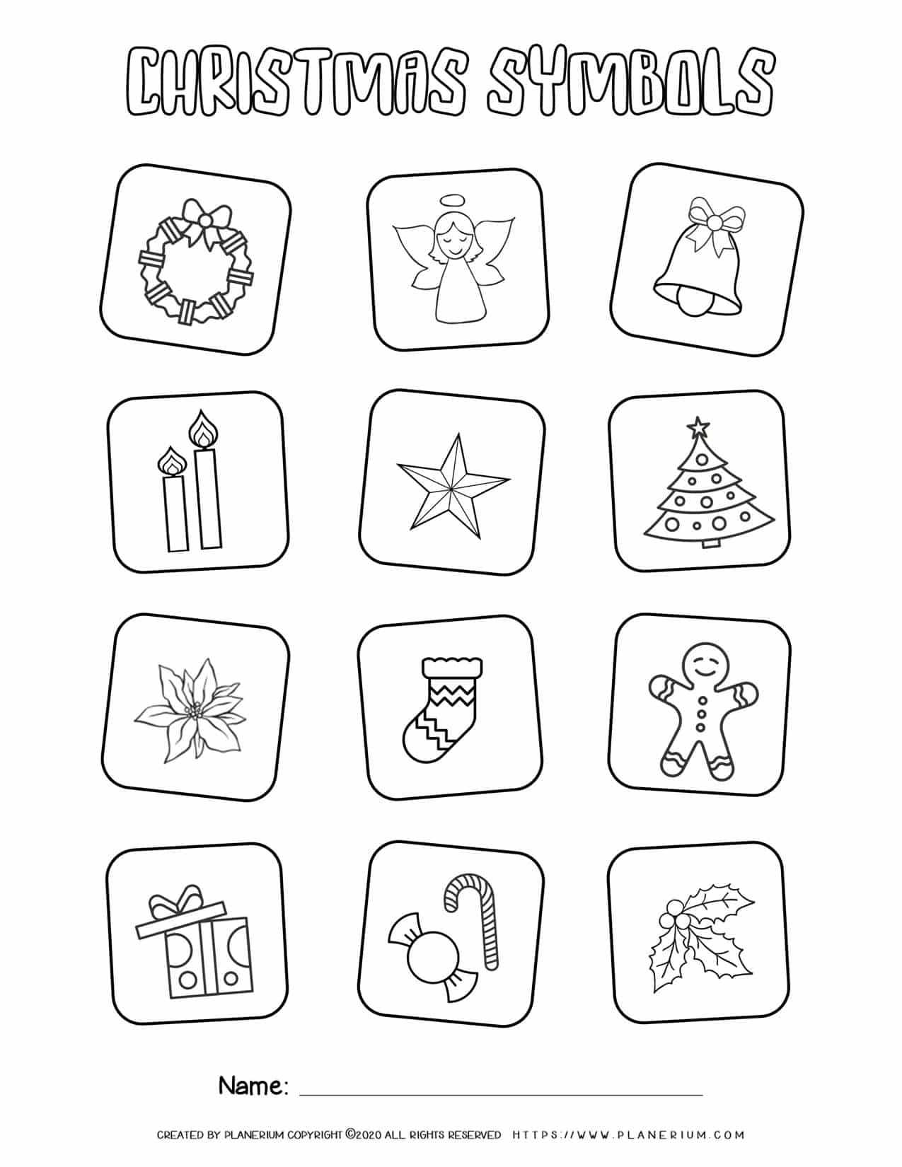 Christmas Symbols Coloring Page | Free Printables | Planerium