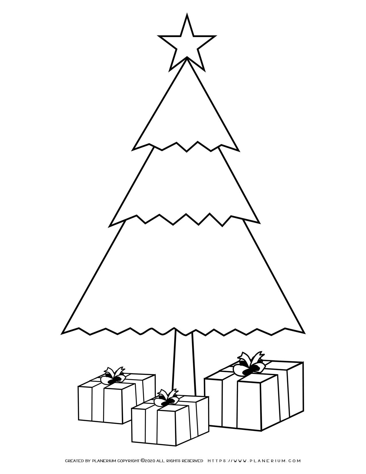 Christmas Tree with Presents Coloring Page | Free Printables | Planerium