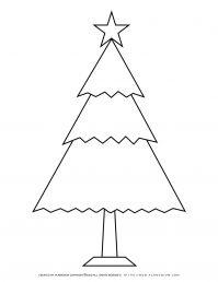 Christmas Tree with Star Coloring Page | Free Printables | Planerium