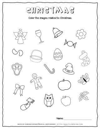 Christmas Worksheet - Color Related Objects | Free Printables | Planerium