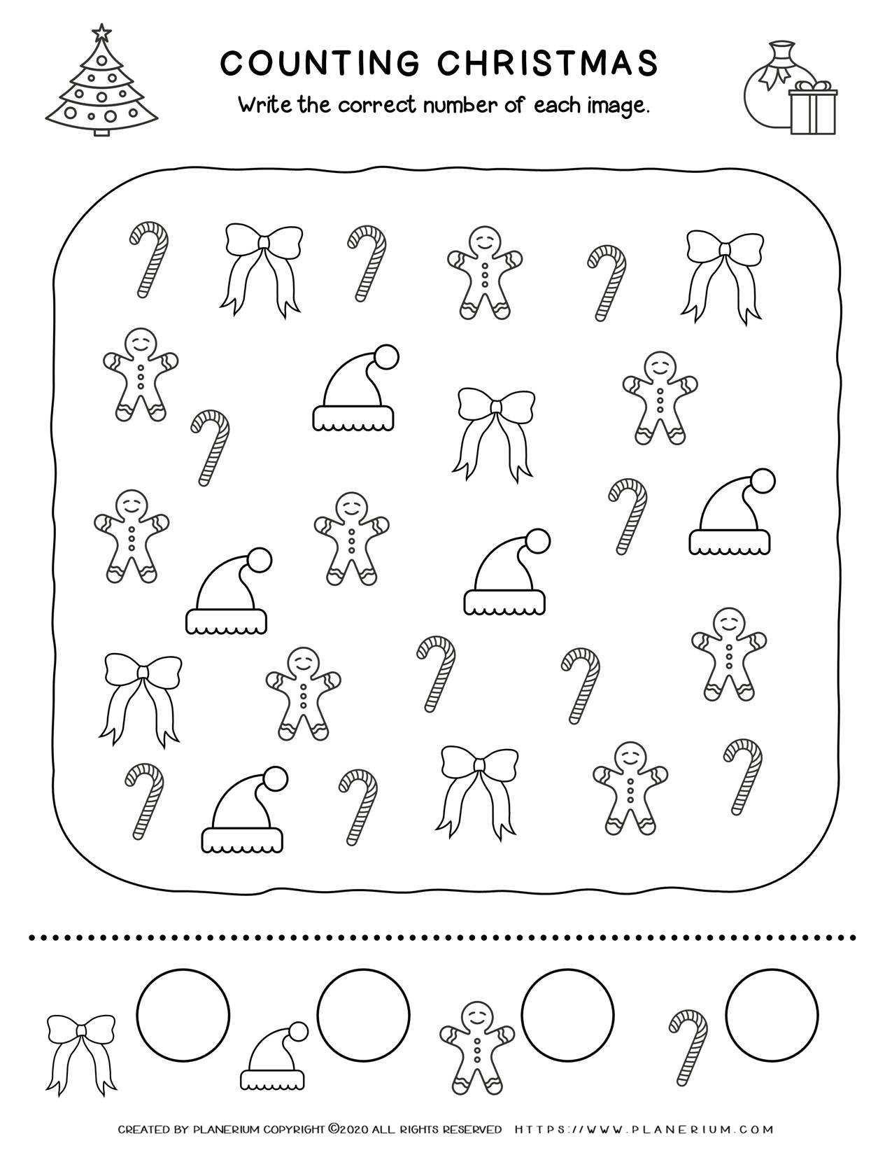 Christmas Worksheet - Counting Objects | Free Printables | Planerium