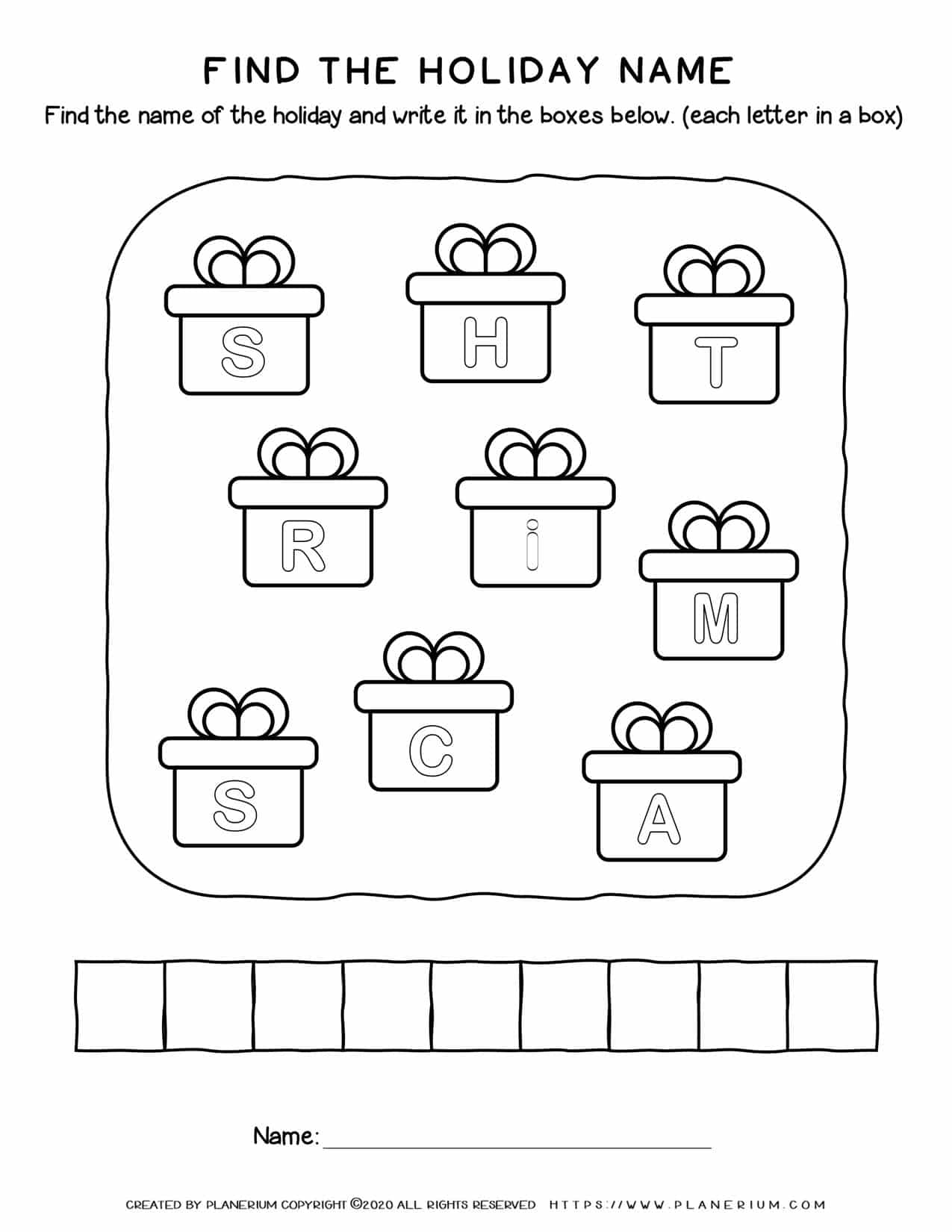 Christmas Worksheet - Find the Holiday | Free Printables | Planerium