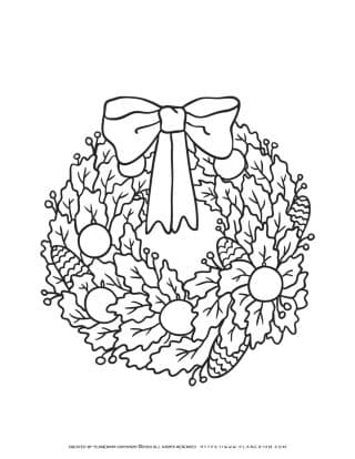 Christmas Wreath Coloring Page   Free Printables   Planerium