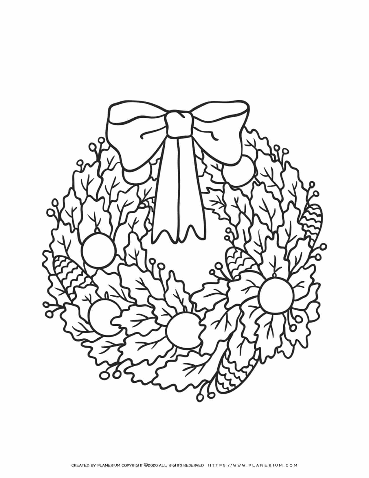 Christmas Wreath Coloring Page | Free Printables | Planerium