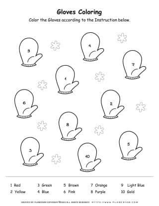 Color By Number - Winter Gloves Worksheet - Free Printable | Planerium