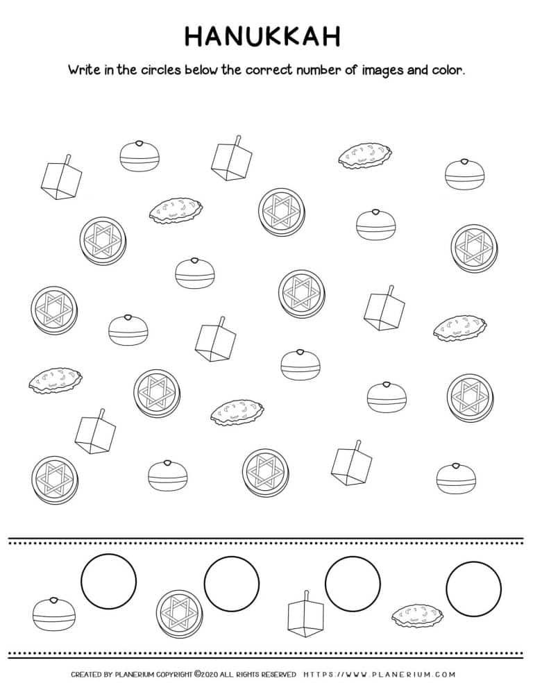 Counting Objects - Hanukkah Worksheet - Free Printable   Planerium