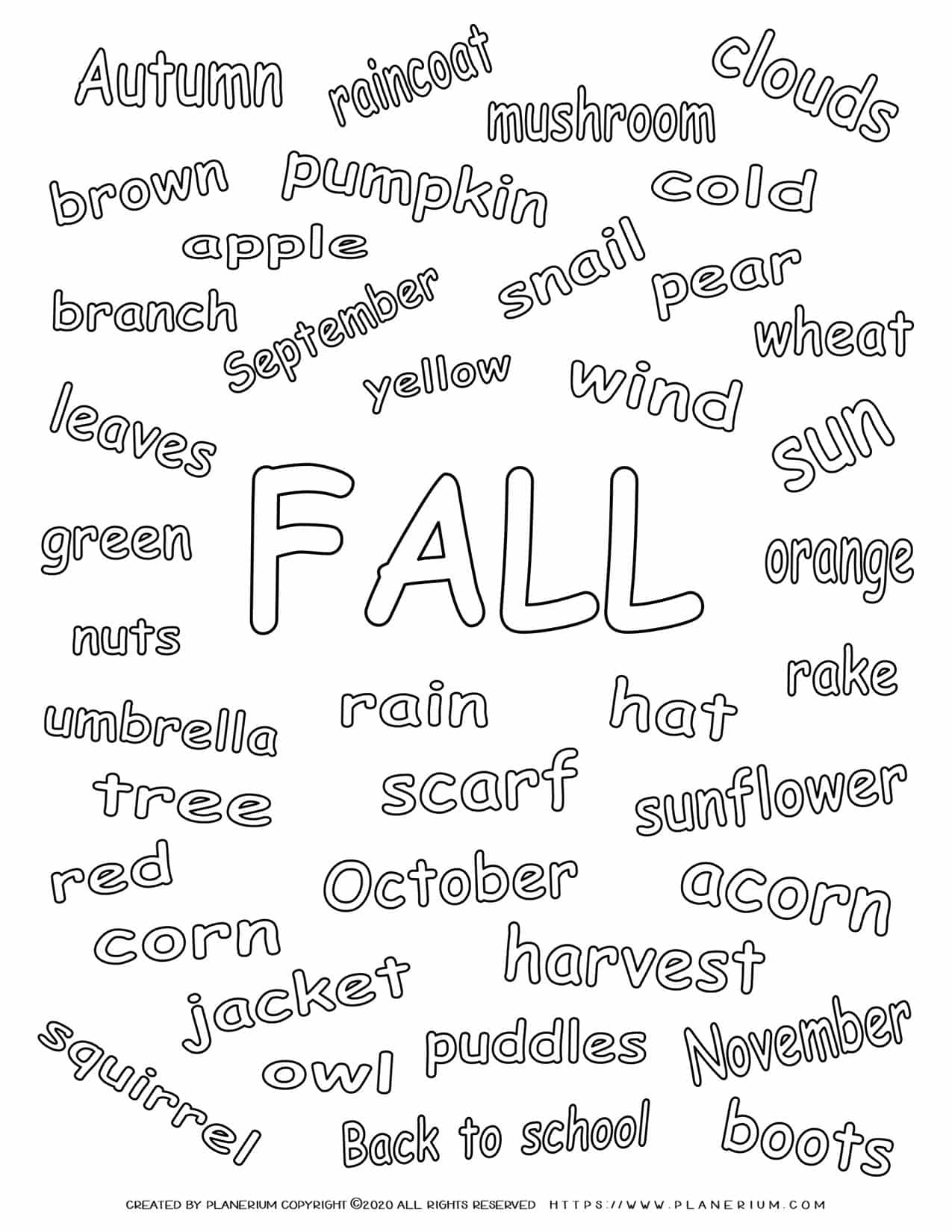 Fall Season - Coloring Page - Related Words