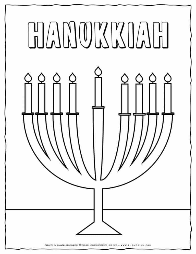 Hanukkah Coloring Pages - Hanukkah Menorah - Free Printable   Planerium