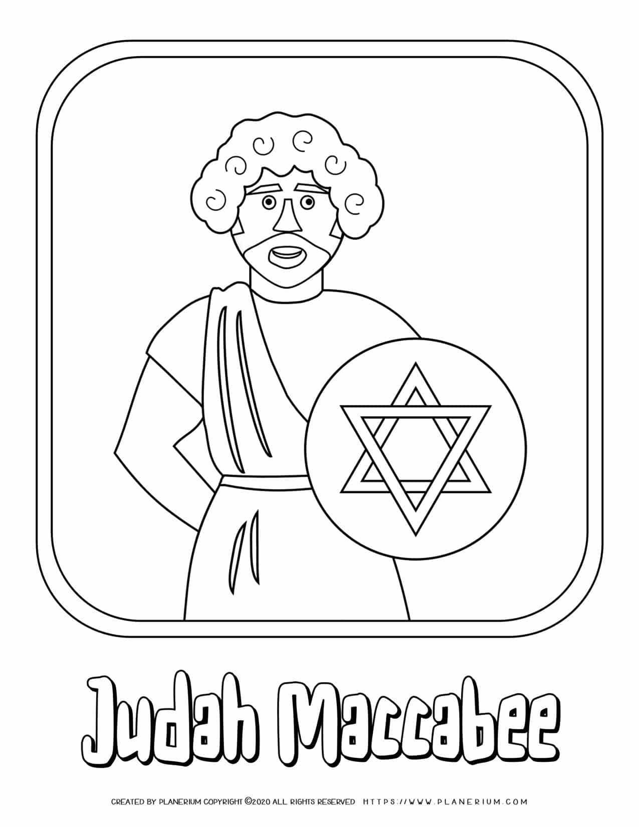 Hanukkah Coloring Pages - Judah Maccabee - Free Printable | Planerium