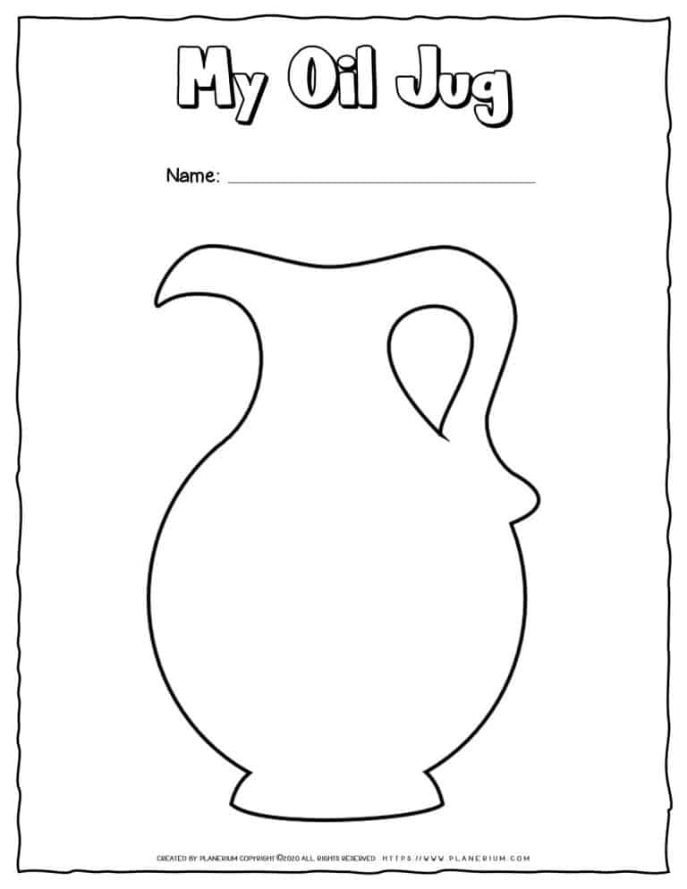 Hanukkah Coloring Pages - Oil Jug - Free Printable   Planerium