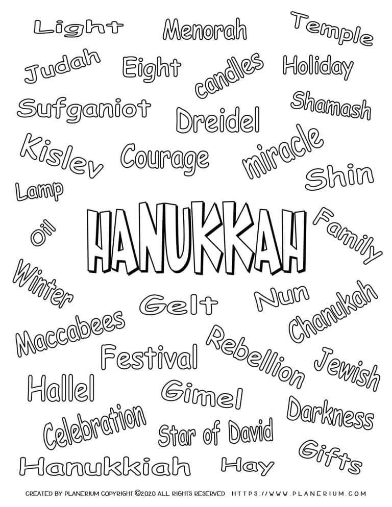 Hanukkah Coloring Pages - Related Words - Free Printable   Planerium