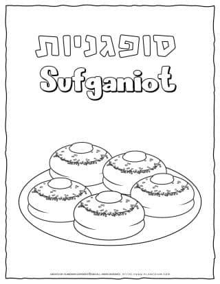 Hanukkah Coloring Pages - Sufganiyot - Free Printable | Planerium