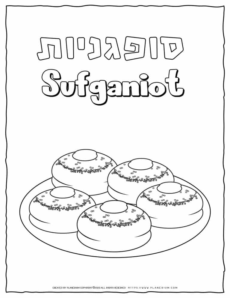 Hanukkah Coloring Pages - Sufganiyot - Free Printable   Planerium