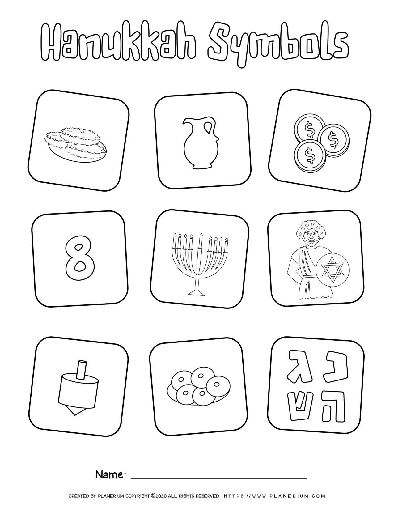 Hanukkah Symbols - Free Coloring Page | Planerium