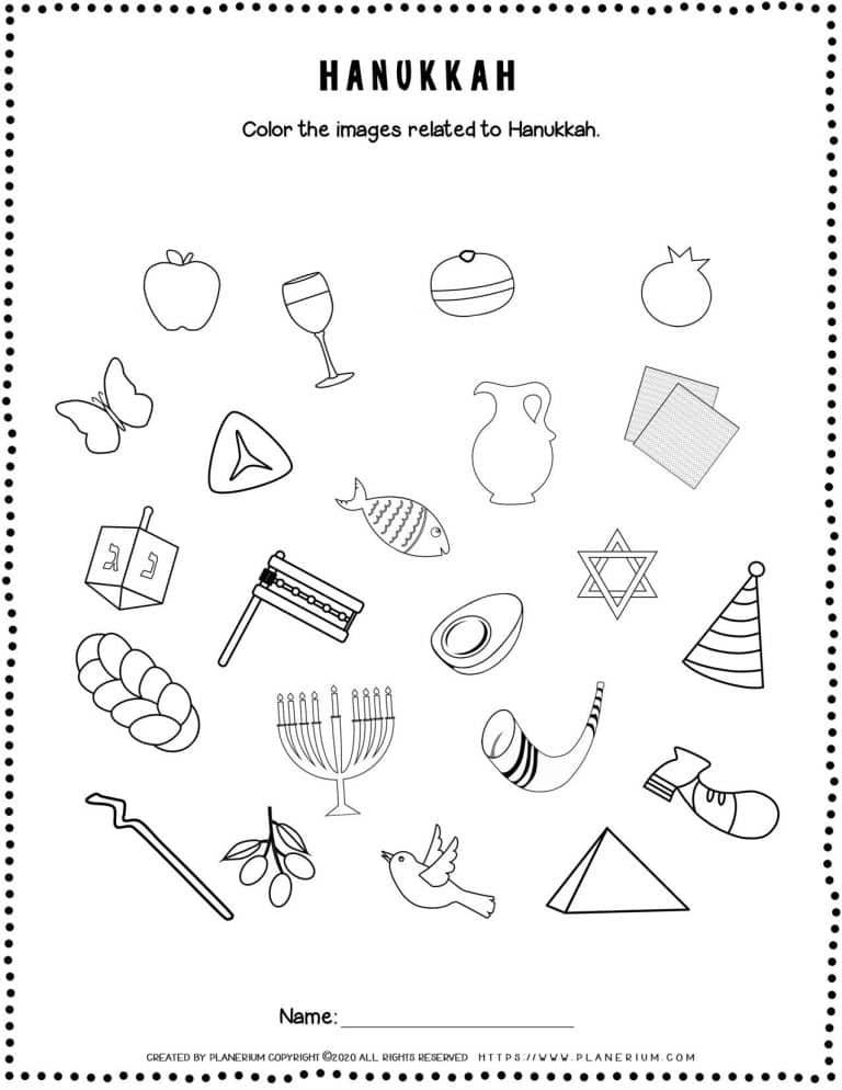 Hanukkah Worksheets - Related Objects - Free Printable   Planerium