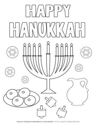 Happy Hanukkah - Free Coloring Page   Planerium