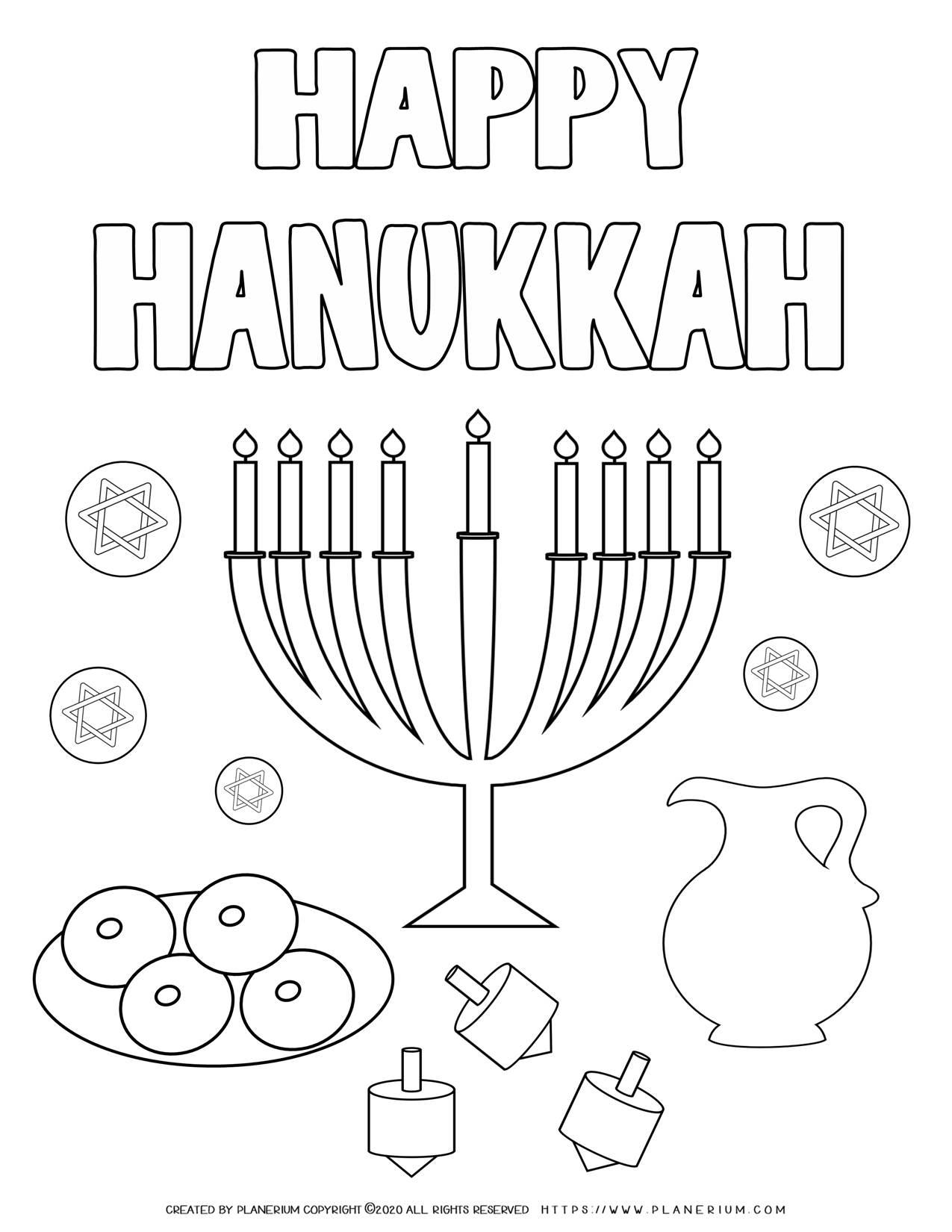 Happy Hanukkah - Free Coloring Page | Planerium