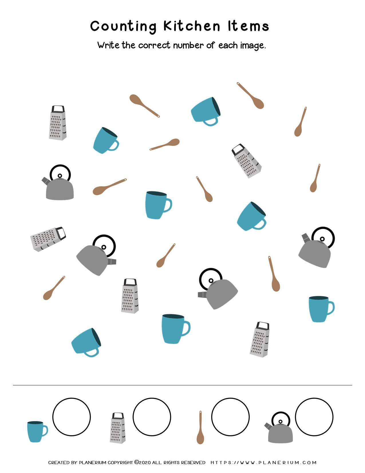 My Home - Worksheet - Counting Kitchen Items | Planerium