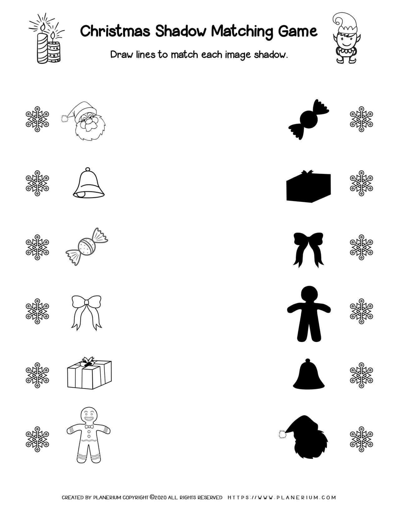 Shadow matching Christmas Worksheet | Free Printables | Planerium