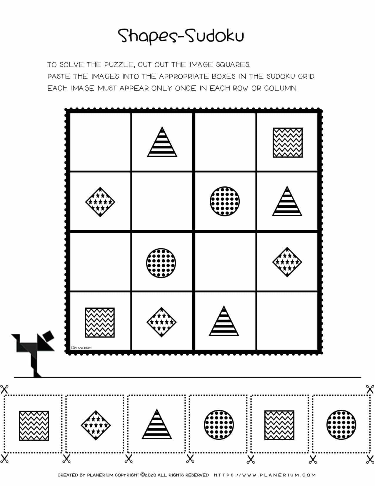 Sudoku For Kids - Basic Shapes Free Printable Worksheet | Planerium