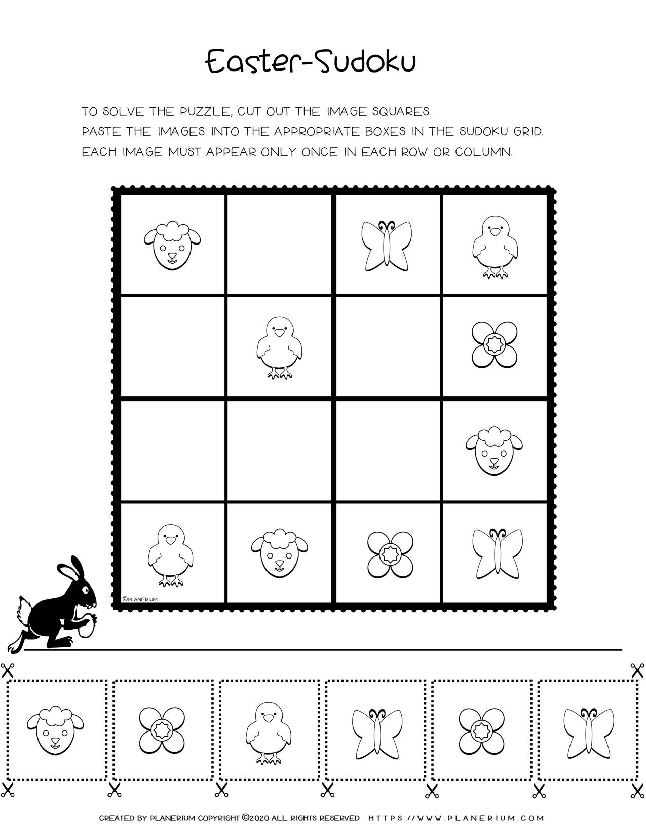 Sudoku For Kids - Easter Holiday Free Printable Worksheet | Planerium
