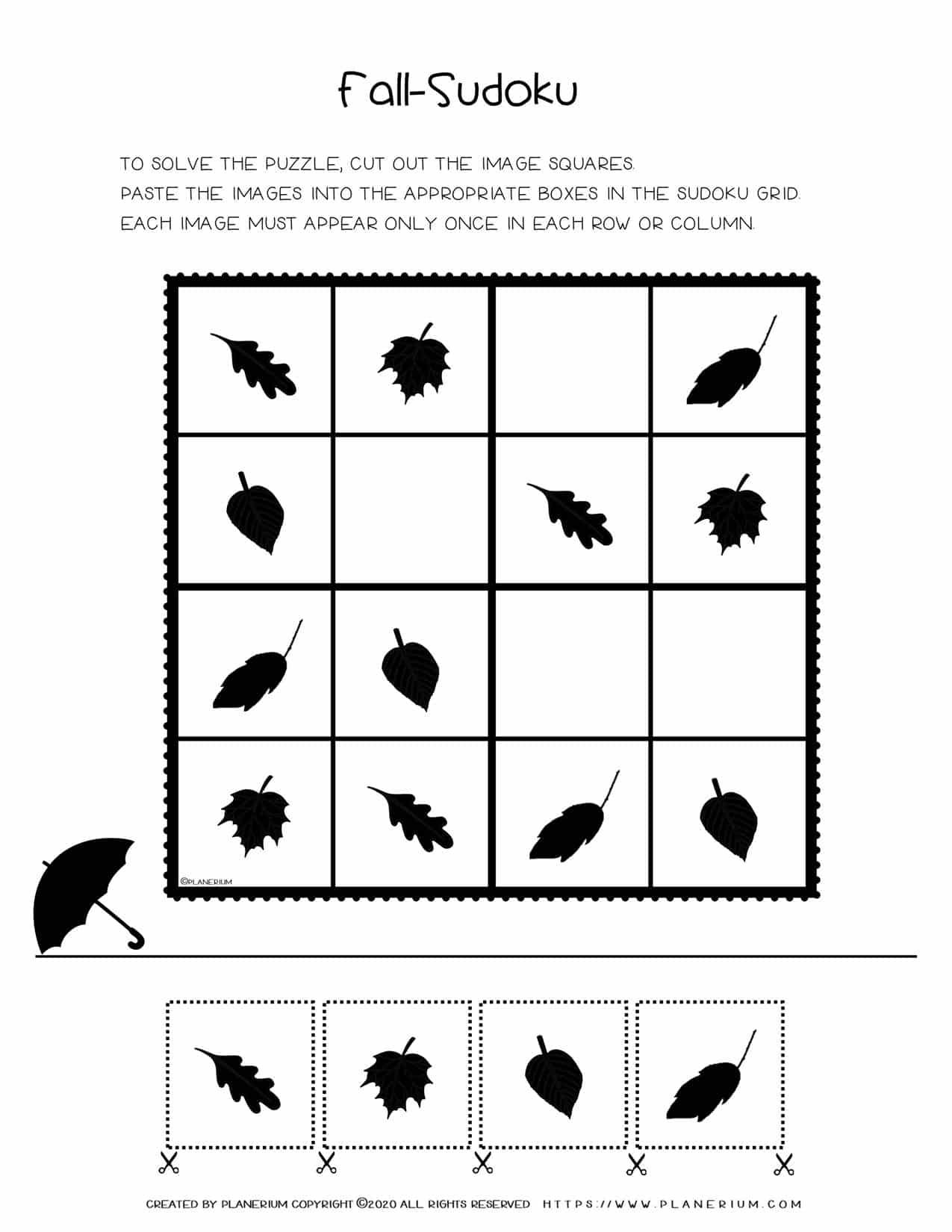 Sudoku For Kids - Fall Season Free Worksheet   Planerium
