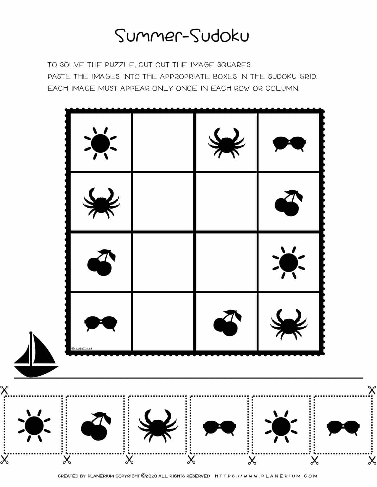 Sudoku For Kids - Summer Season Free Worksheet | Planerium