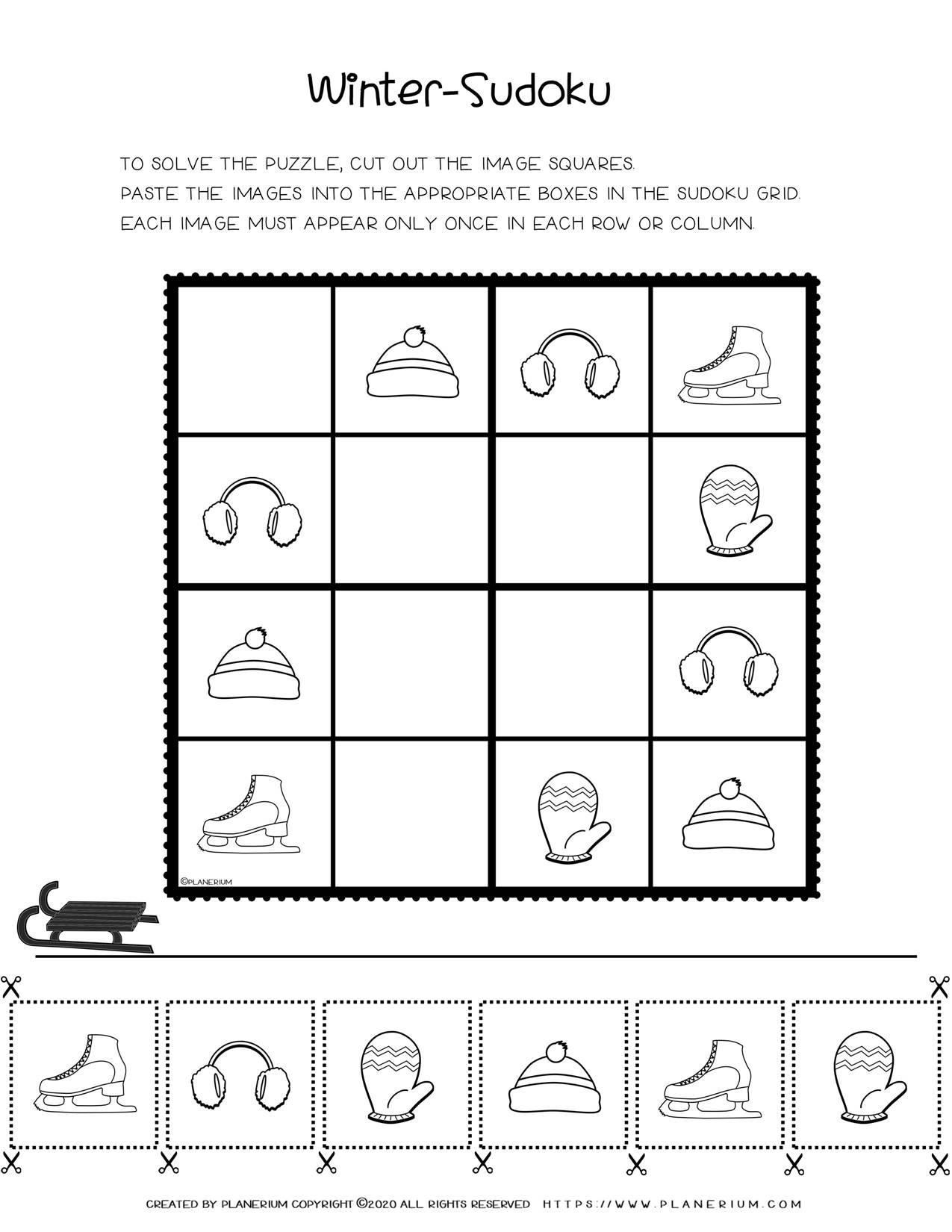 Sudoku For Kids - Winter Season Free Printable Worksheet | Planerium