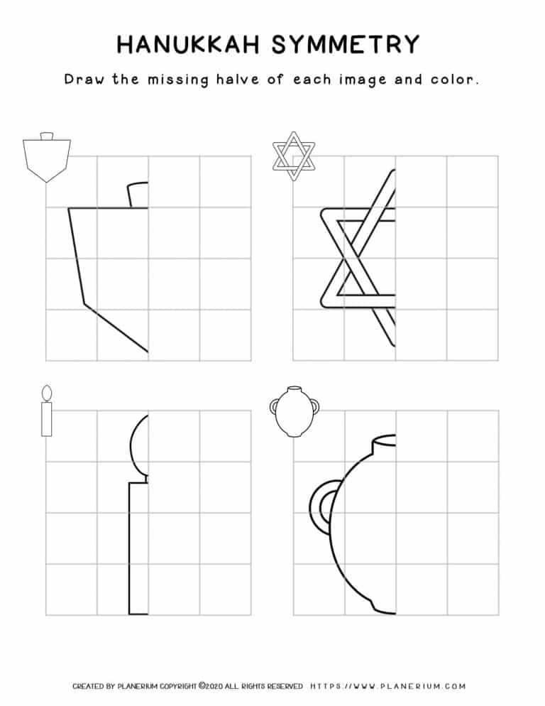 Symmetry Drawing - Hanukkah Worksheet - Free Printable   Planerium