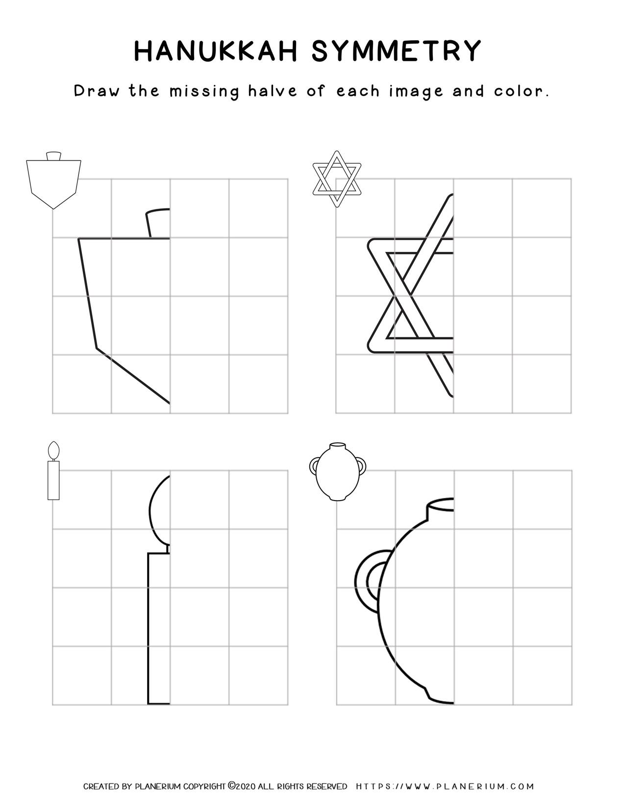 Symmetry Drawing - Hanukkah Worksheet - Free Printable | Planerium