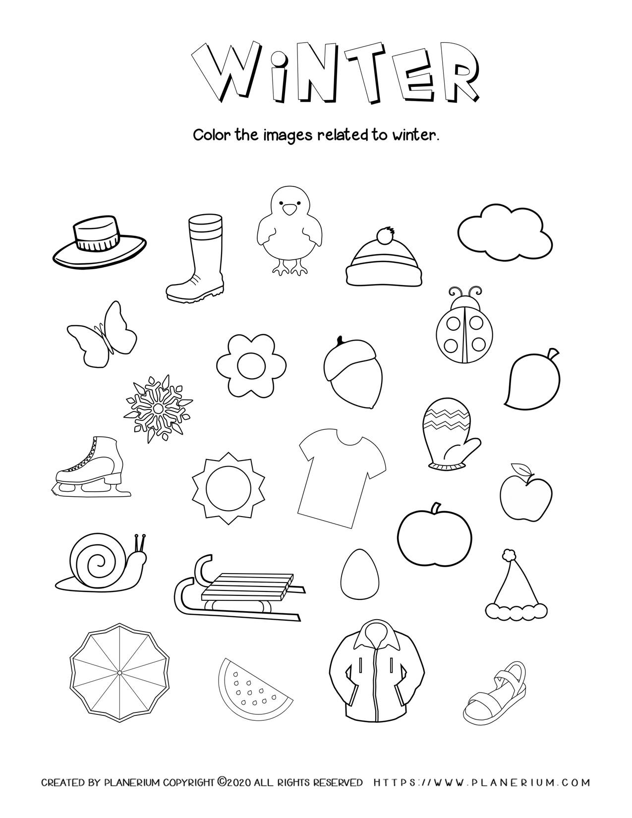 Coloring Winter Related Objects - Free Worksheet | Planerium