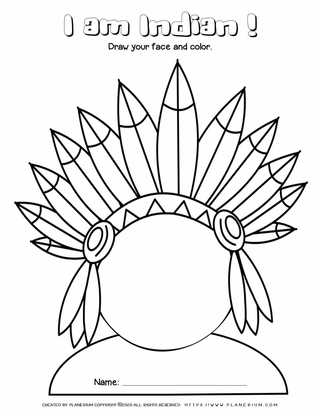 Indians Face - Thanksgiving Worksheet | Planerium