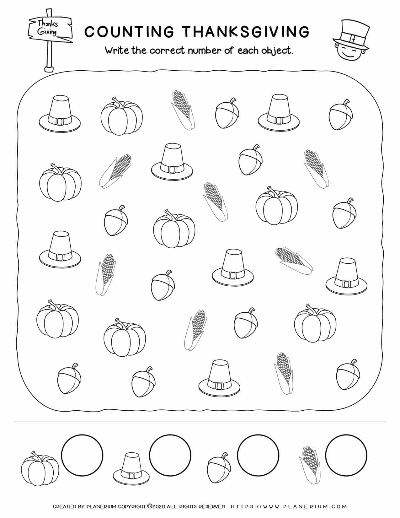 Counting Objects - Thanksgiving Worksheet | Planerium