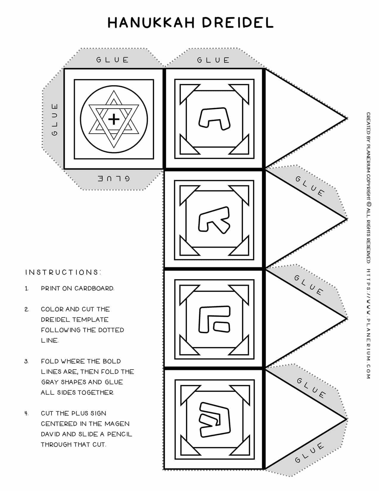 Dreidel Template - How to make a dreidel with the letter Shin - Hanukkah Worksheet   Planerium