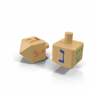 Two Dreidels with the letters Shin, Nun, Gimel, and Hey | Planerium