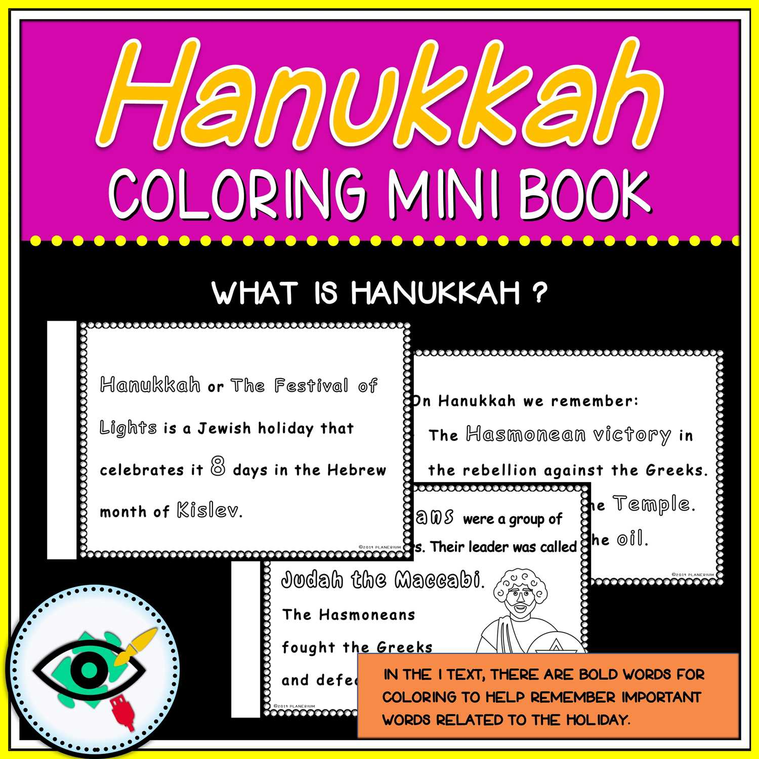 Hanukkah Coloring Pages - Mini Book - Featured Two | Planerium