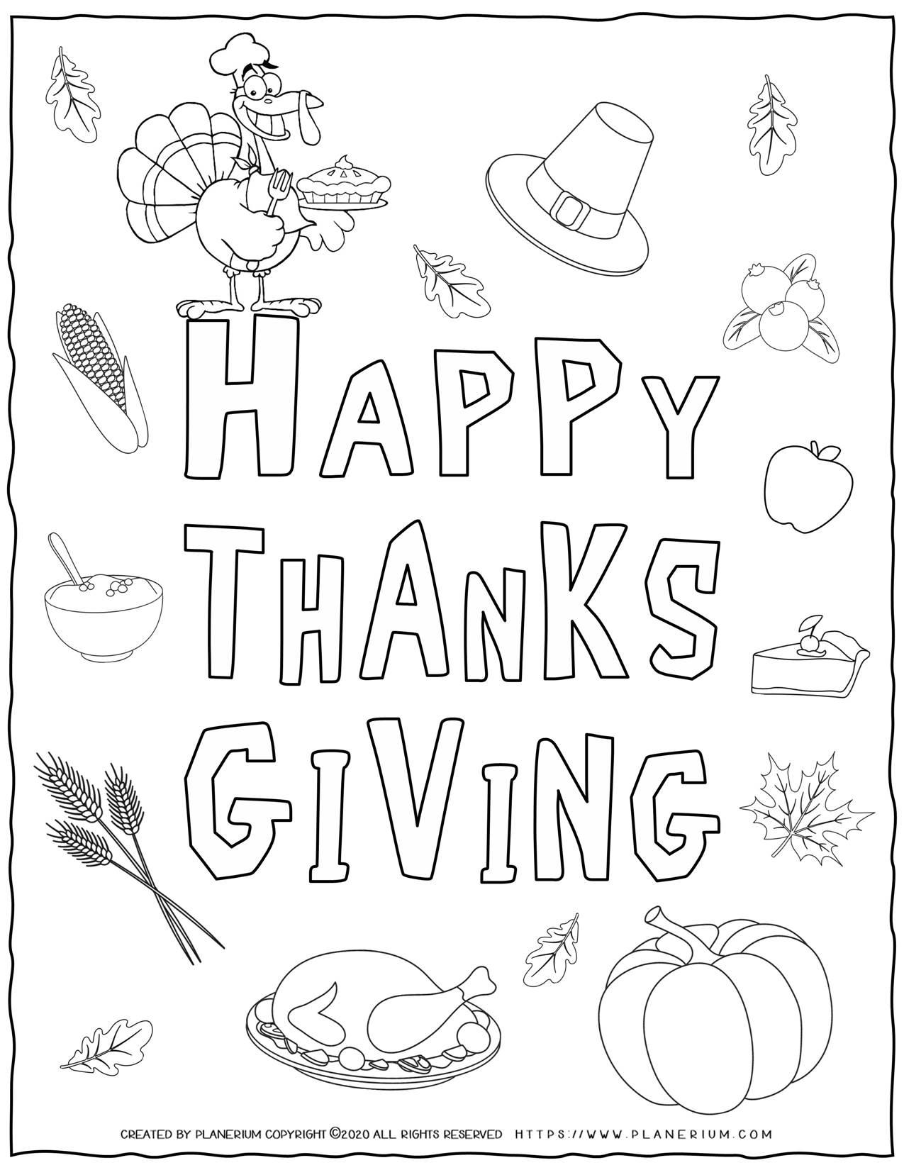 Happy Thanksgiving Symbols - Coloring Page | Planerium