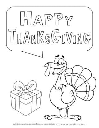 Happy Thanksgiving - Smiling Turkey - Coloring Page | Planerium