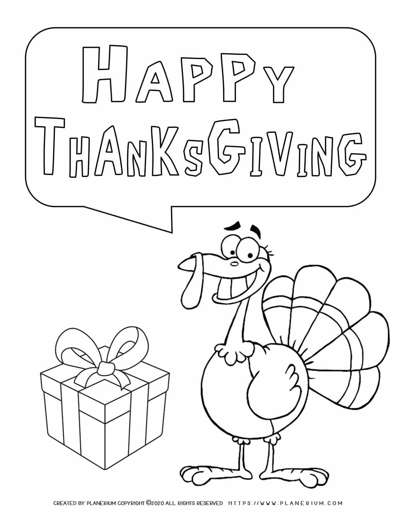 Happy Thanksgiving - Smiling Turkey - Coloring Page   Planerium