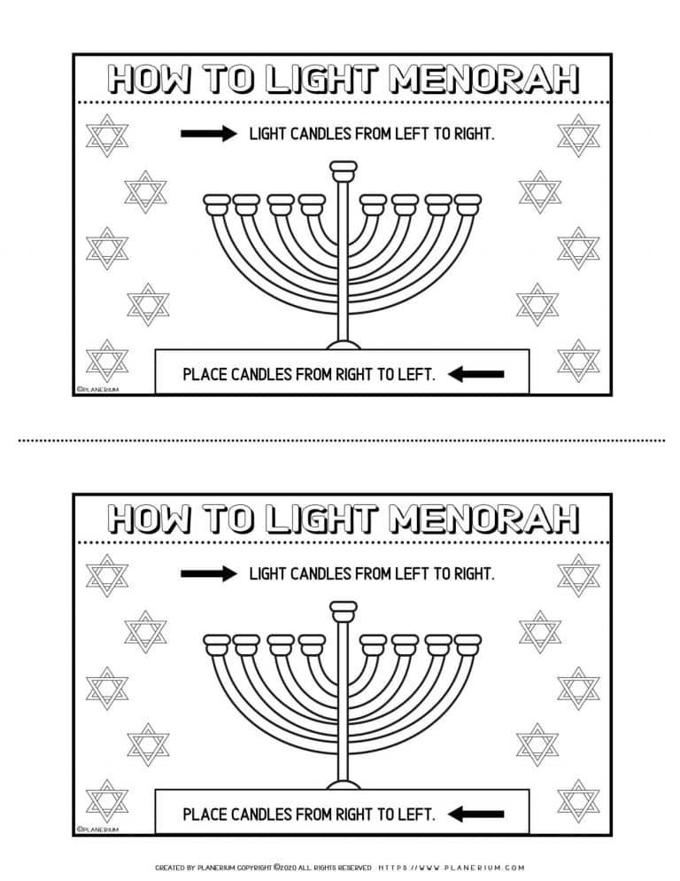 How to Light The Menorah - Free Hanukkah Coloring Page   Planerium