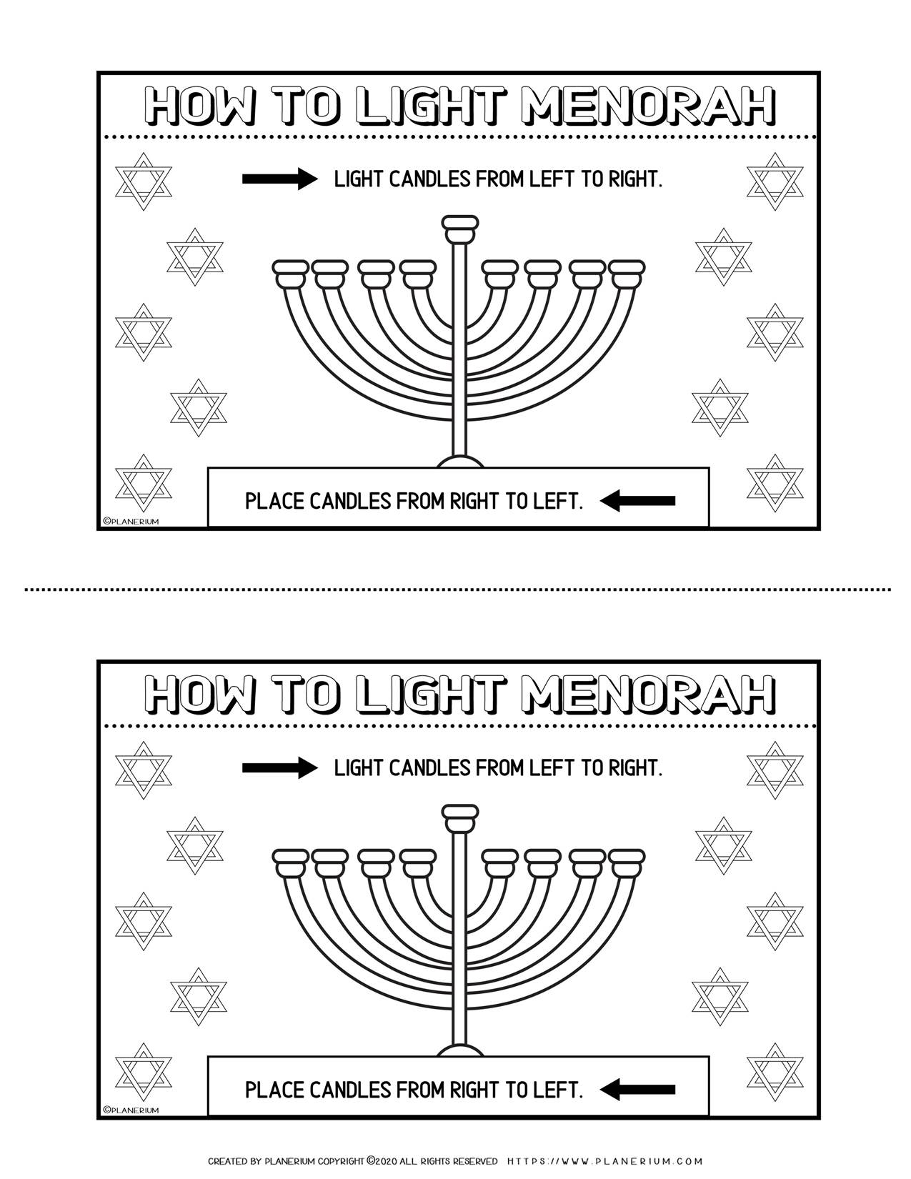 How to Light The Menorah - Free Hanukkah Coloring Page | Planerium