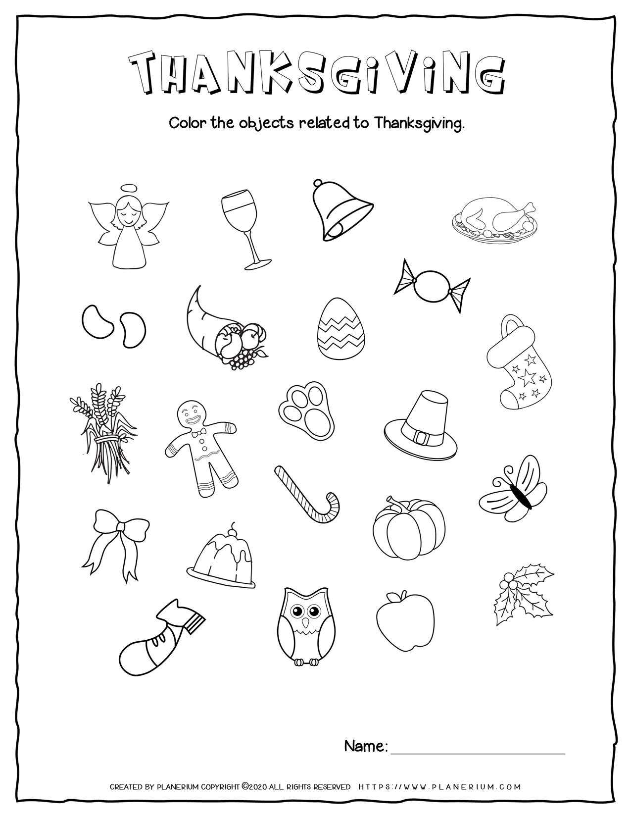 Related Objects - Thanksgiving Worksheet | Planerium