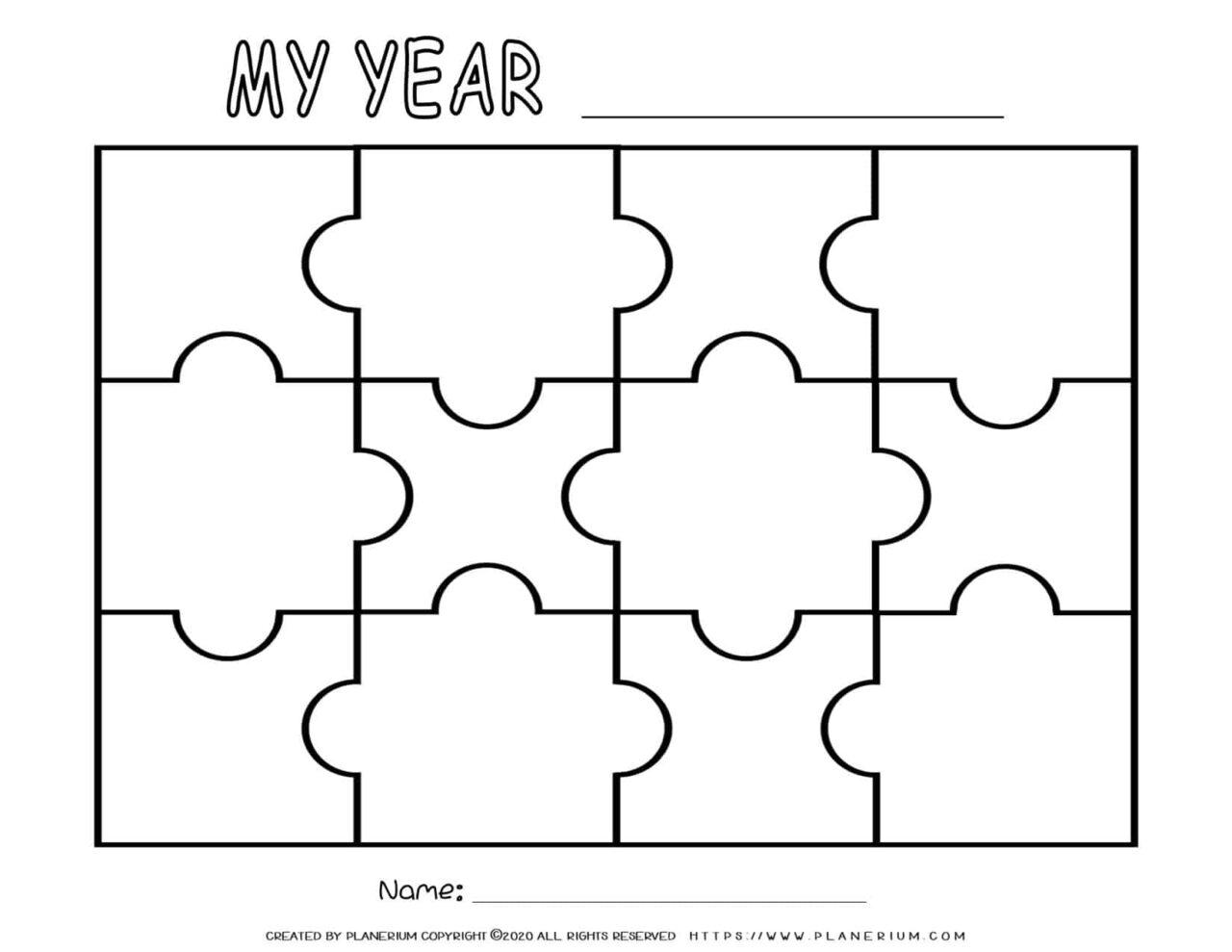 Self Reflection - Puzzle Template - Twelve Pieces | Planerium