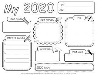 Self Reflection - Worksheet - My Year 2020 | Planerium