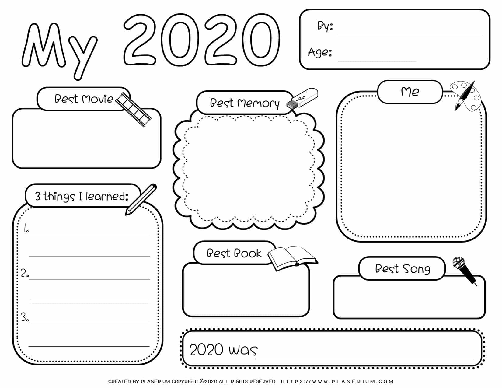Self Reflection - Worksheet - My Year 2020   Planerium