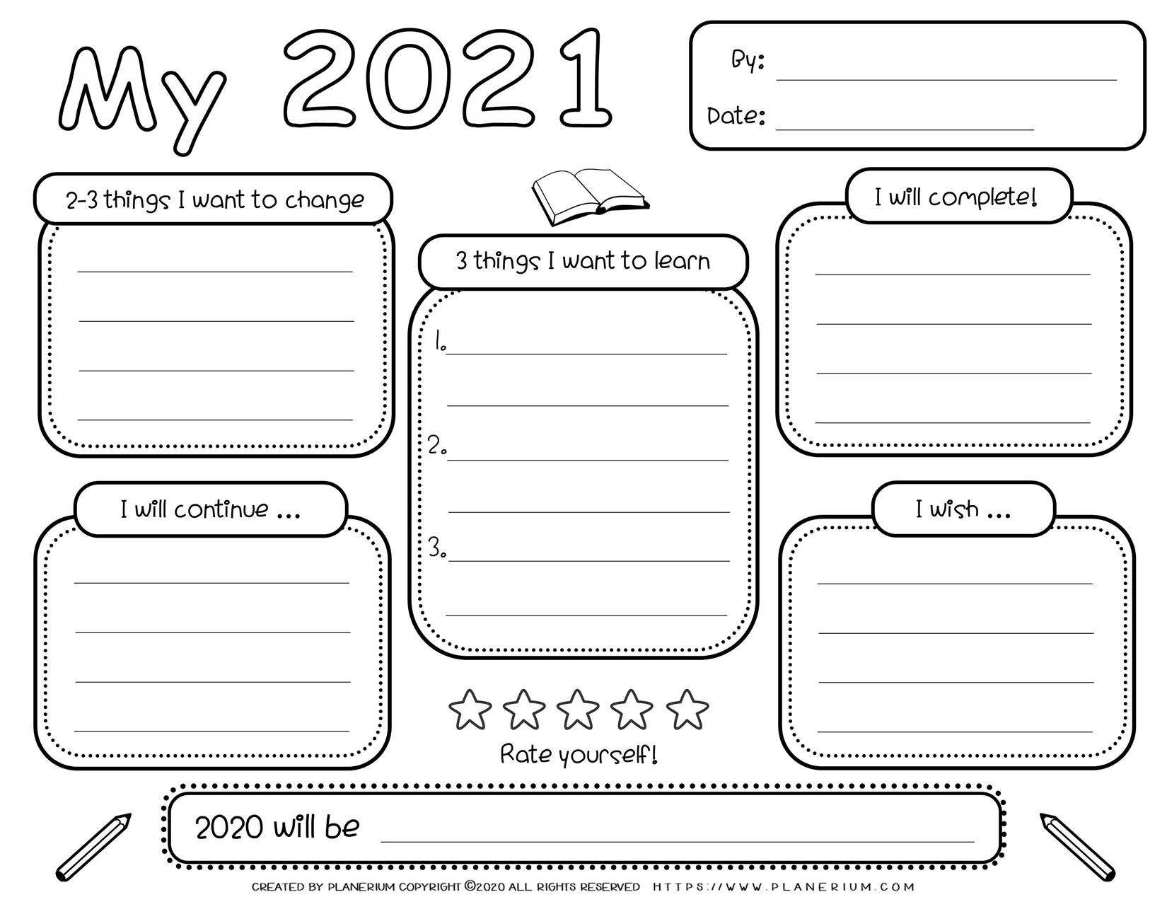Self Reflection - Worksheet - My Year 2021 | Planerium