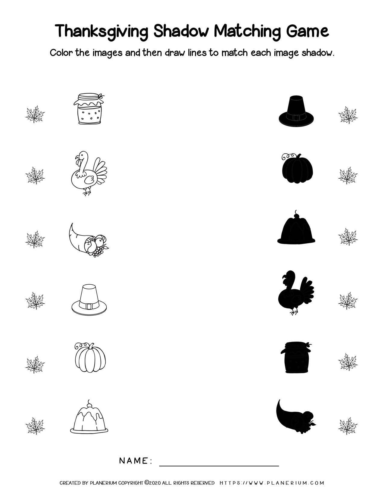 Shadow Matching - Thanksgiving Worksheet | Planerium