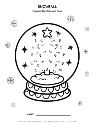 Snowball Dot to Dot - Christmas worksheet - Free Printable | Planerium