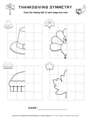 Symmetry Drawing - Thanksgiving Worksheet | Planerium
