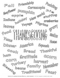 Thanksgiving Related Words - Coloring Page | Planerium